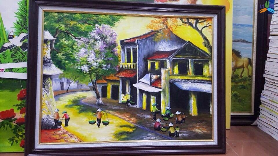 Tranh sơn dầu phong cảnh phố cổ